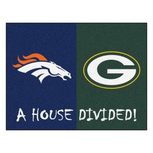 NFL Broncos / Packers Navy House Divided 3 ft. x 4 ft. Area Rug