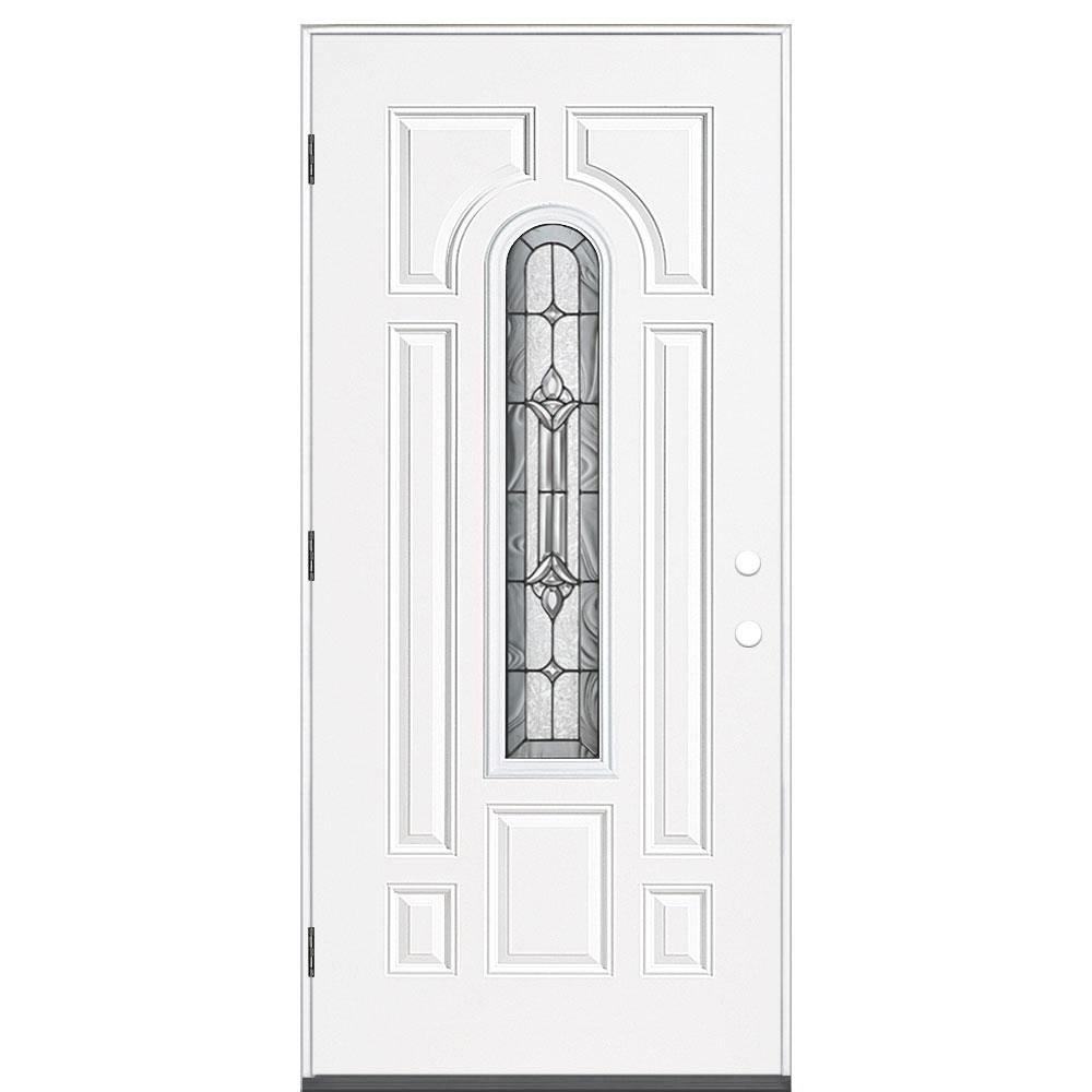 Masonite 36 in. x 80 in. Providence Center Arch Left Hand Outswing Primed  Steel Prehung Front Exterior Door