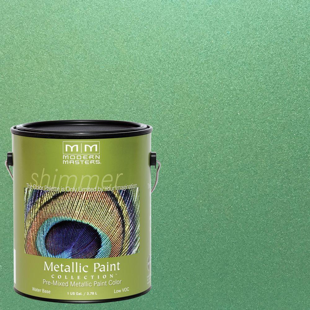 1 gal. Mystical Green Water-Based Satin Metallic Interior/Exterior Paint