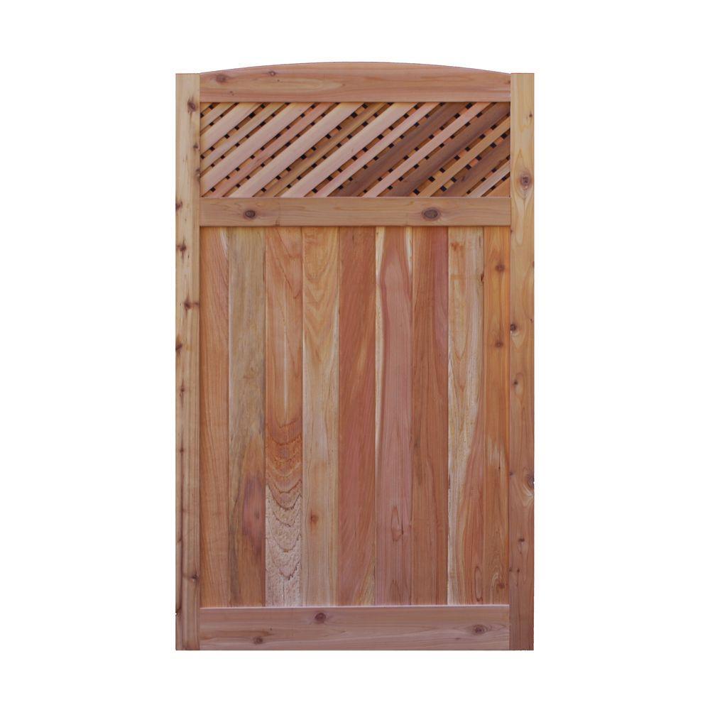 3.5 ft. H W x 6 ft. H H Western Red Cedar Arch Top Supreme Lattice Fence Gate