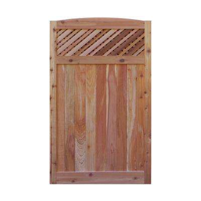 3.5 ft. H W x 6 ft. H H Western Red Cedar Arch Top Supreme Lattice Fence Gate