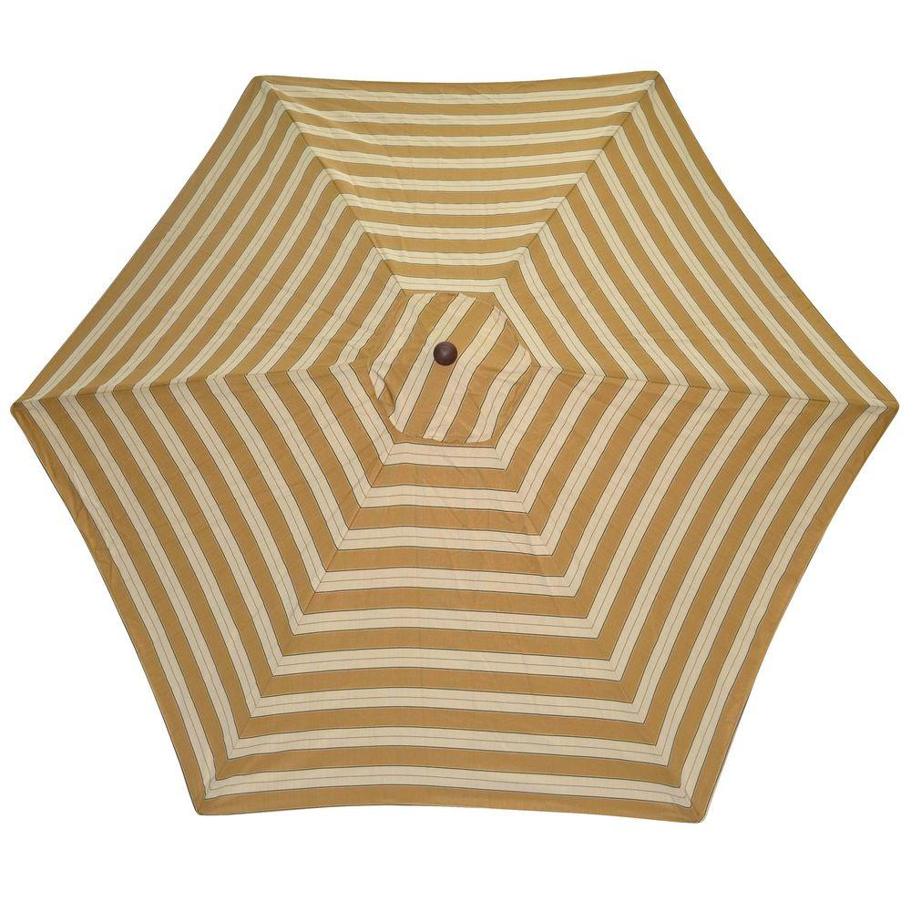 Plantation Patterns 9 ft. Patio Umbrella in Wheat Stripe-DISCONTINUED