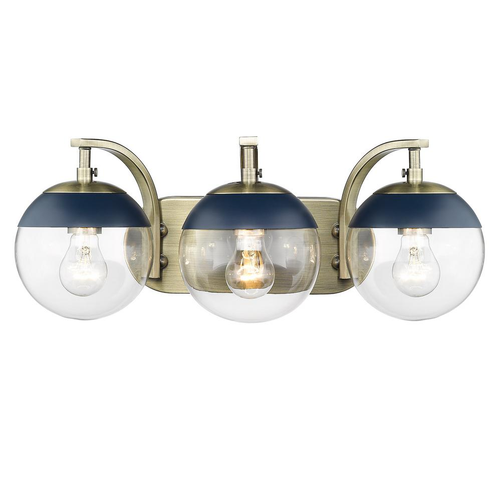 Golden Lighting Dixon 12 in. 3-Light Aged Brass with Clear Glass and Navy Cap Bath Vanity Light