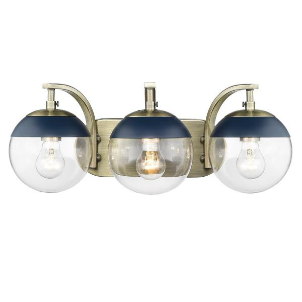 Dixon 12 in. 3-Light Aged Brass with Clear Glass and Navy Cap Bath Vanity Light