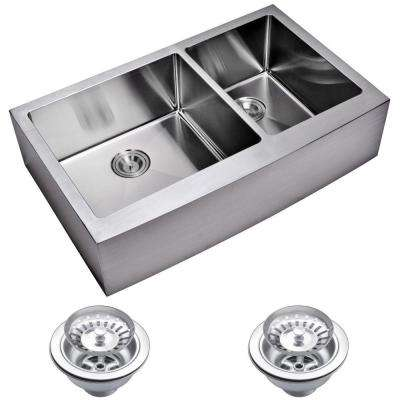 Farmhouse Apron Front Small Radius Stainless Steel 36 in. Double Bowl Kitchen Sink with Strainer in Satin