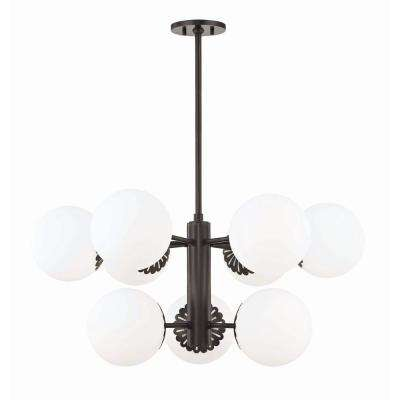 Paige 9-Light Old Bronze Chandelier with Opal Glossy Glass Shade