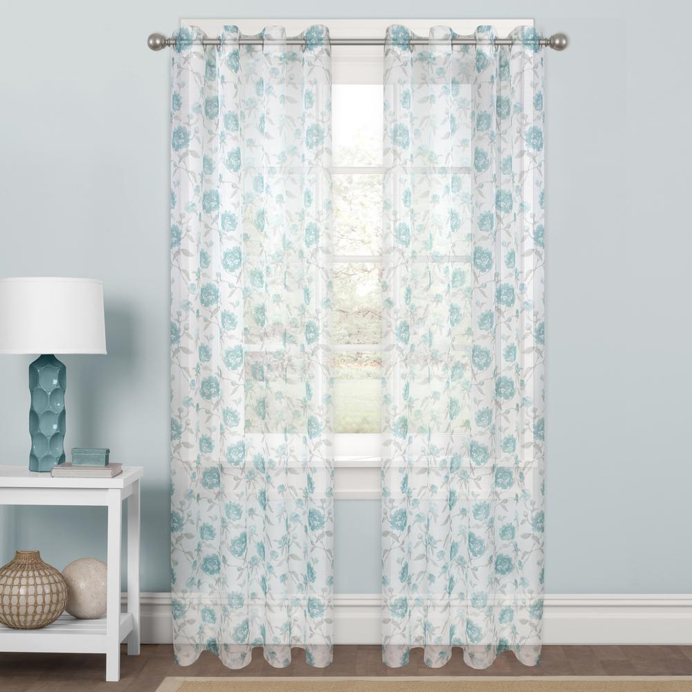"Allison Sheer Aqua Rod Pocket Curtain Panel 56"" W x 84"" L"