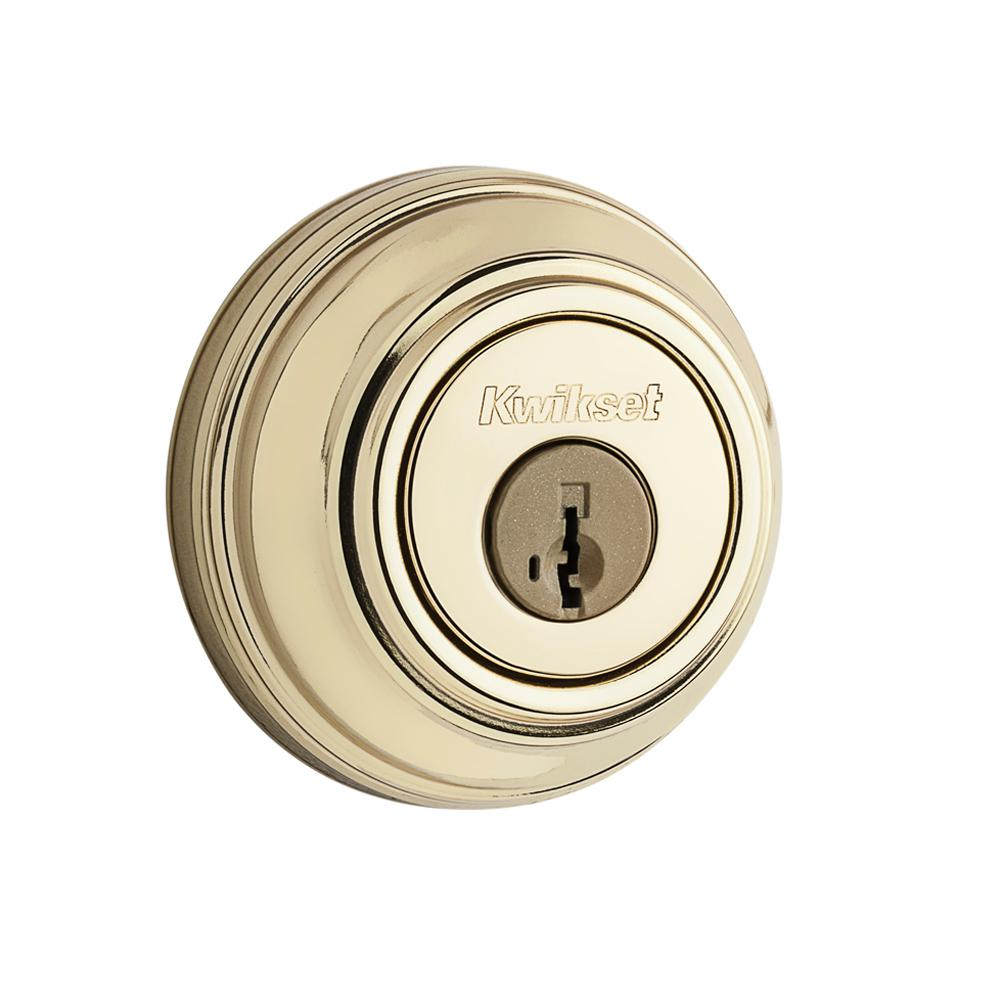 Kwikset 980 Series Lifetime Polished Brass Single Cylinder Deadbolt featuring SmartKey