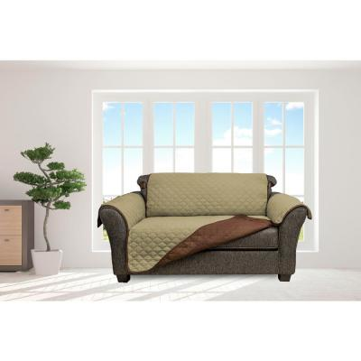 Jameson Sage and Chocolate Reversible Waterproof Microfiber Loveseat Cover with Elastic Buckle