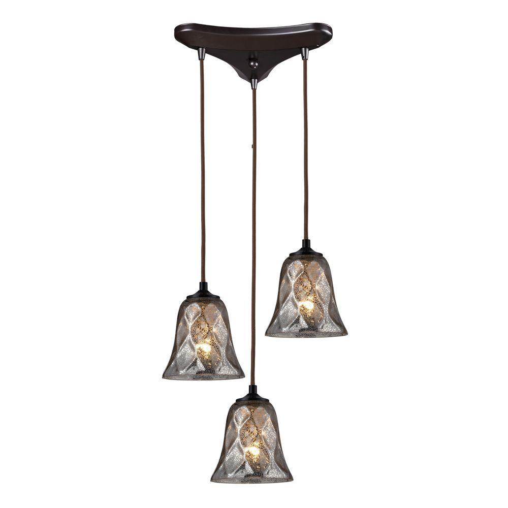 Titan Lighting Darien 3-Light Oiled Bronze Ceiling Mount Pendant