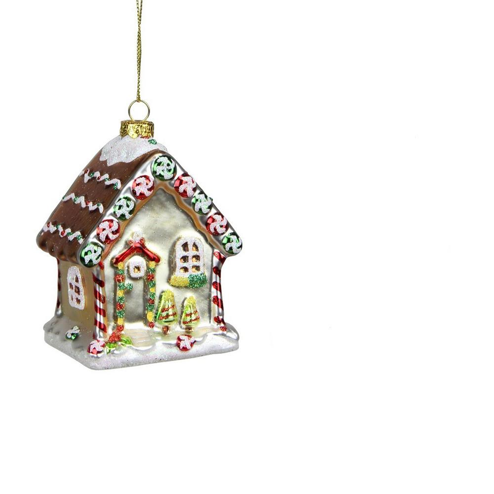 Northlight 3.75 in. Gingerbread Kisses Glittered Glass House Decorative Christmas Ornament