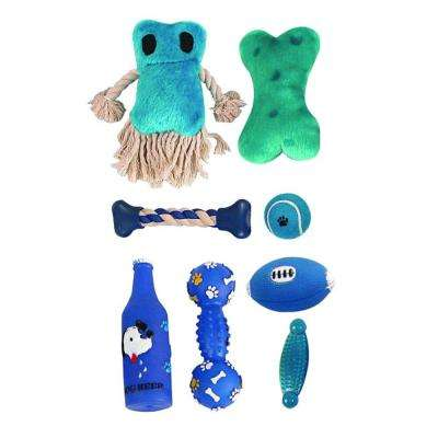 Duffle Pet Dog Plush Rubber and Jute Rope Squeak Toy Set in Blue (8-Piece)