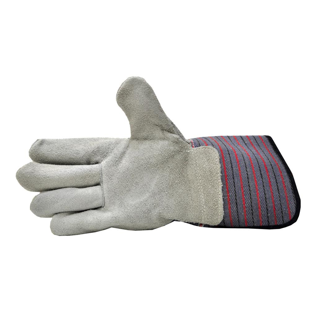 G & F Products Premium Suede Leather Work Gloves with Extra Long Rubberized Safety Cuff (5-Pair Pack)