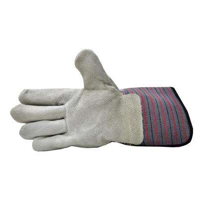 Premium Suede Leather Work Gloves with Extra Long Rubberized Safety Cuff (5-Pair Pack)