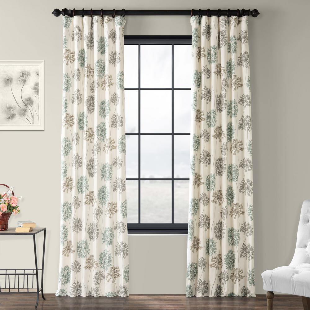 Allium Blue Gray Multi-Colored Room Darkening Printed Cotton Curtain - 50 in. W x 96 in. L