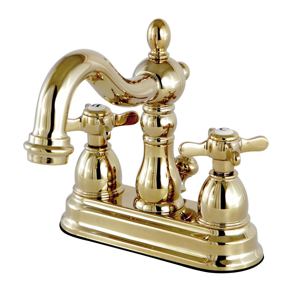 Kingston brass restoration cross 4 in centerset 2 handle - Polished brass high arc bathroom faucet ...