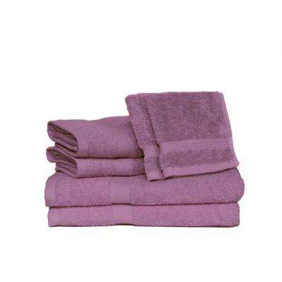 Deluxe 6-Piece Cotton Terry Bath Towel Set in Lilac