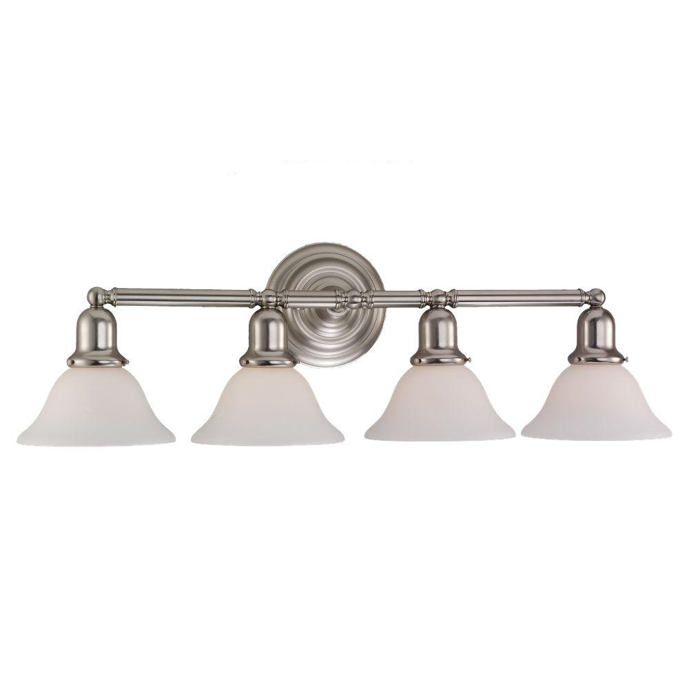 Sea Gull Lighting 44237 962 3 Light Brushed Nickel Bathroom Vanity Wall Fixture: Sea Gull Lighting Sussex 4-Light Brushed Nickel Vanity Light-44063-962