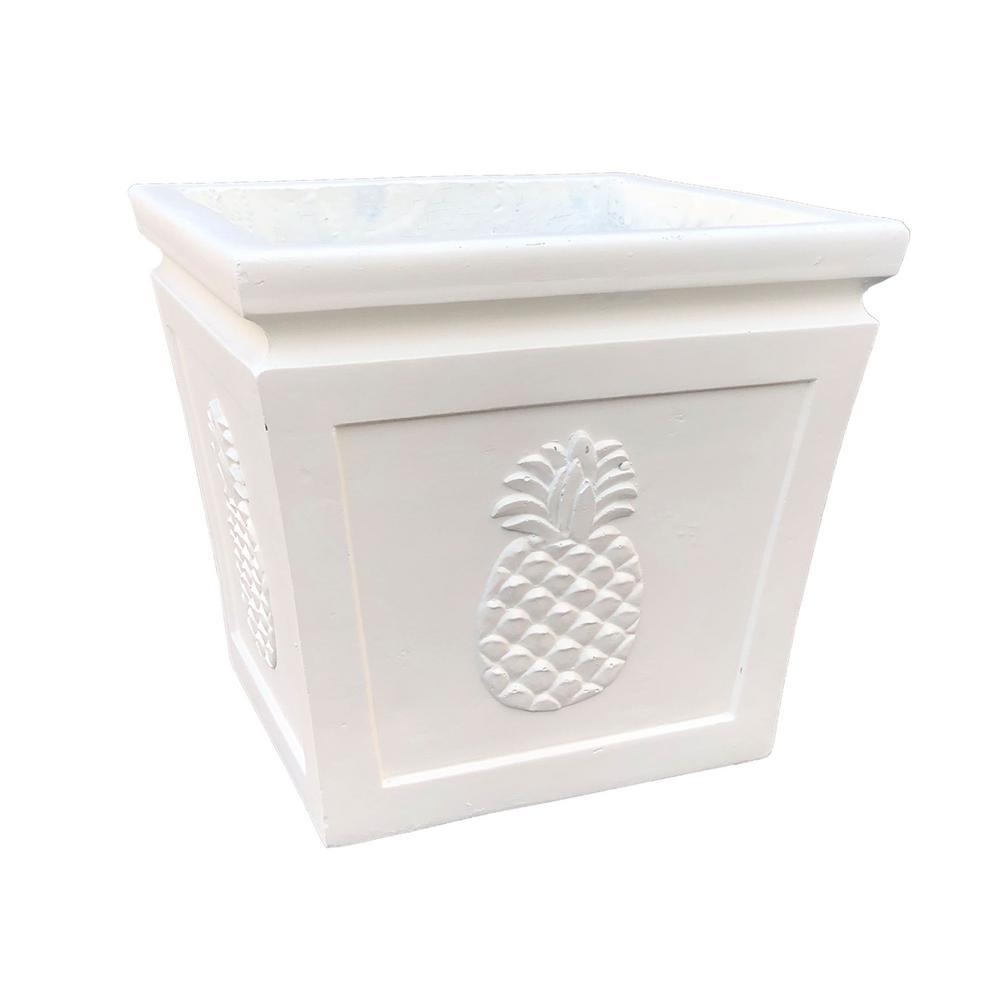 14.17 in. x 14.17 in. x 12.6 in. Light Cream Lightweight Concrete Pineapple Embossed Flared Square Medium Planter