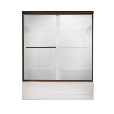 Euro 60 in. x 57 in. Semi-Frameless Sliding Tub Door in Oil-Rubbed Bronze with Clear Glass