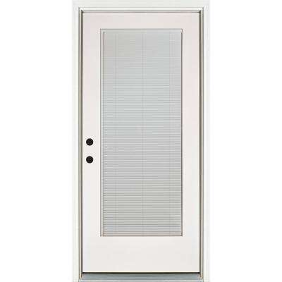 36 in. x 80 in. Smooth White Right-Hand Inswing Full-Lite Blinds Glass Finished Fiberglass Prehung Front Door