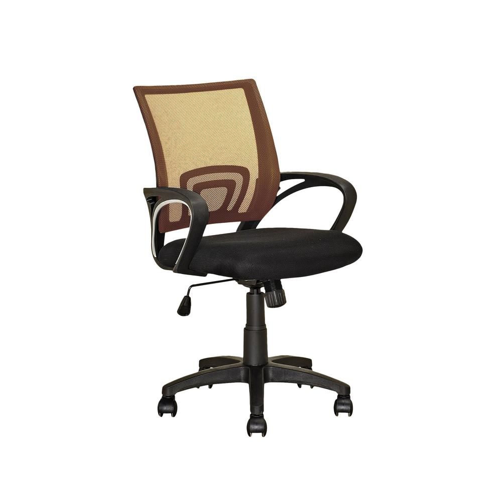 Workspace Black and Light Brown Mesh Back Office Chair