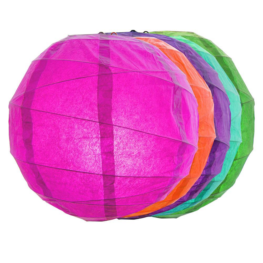 CrissCross 12 in. x 12 in. Multi Color Round Paper Lantern (5-Pack)