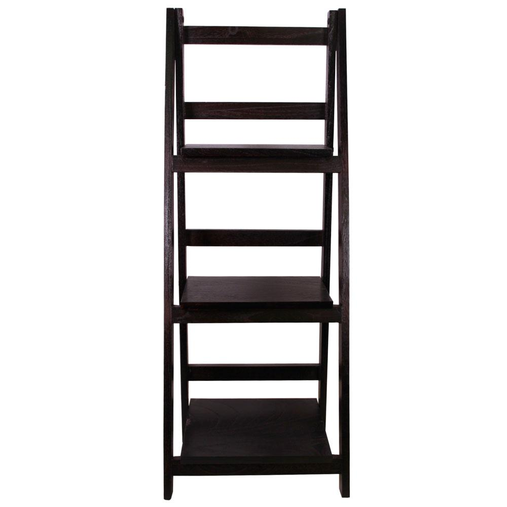 13 in. x 36 in. Espresso Wood Folding 3 Tier Ladder