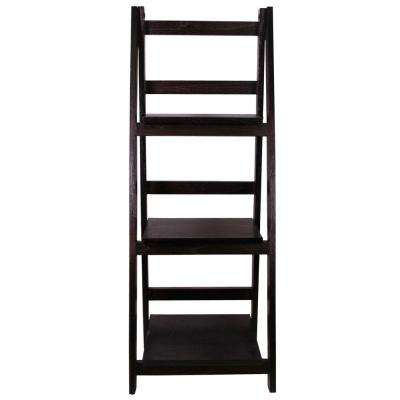 13 in. x 36 in. Espresso Wood Folding 3 Tier Ladder Display Shelf