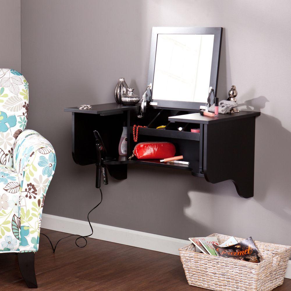 southern enterprises black wall mounted ledge vanity