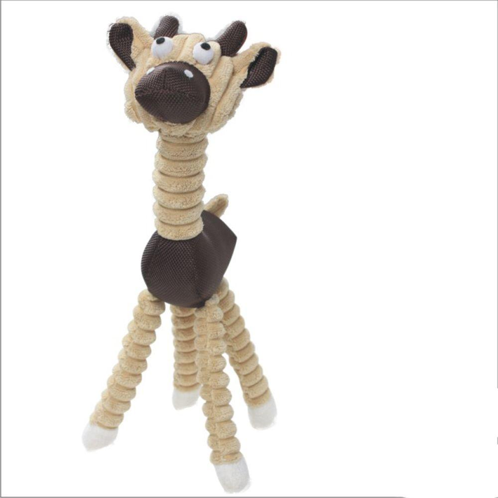 PET LIFE Jute and Rope Giraffe Dog Toy in Brown
