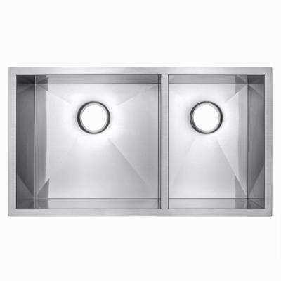 Handcrafted Undermount Stainless Steel 32 in. x 18 in. x 9 in. 60/40 Double Bowl Kitchen Sink in Brushed Finish