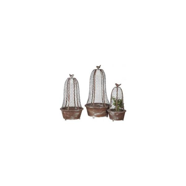 3R Studios Bird Planters Brown Metal and Wire Cloche (Set of