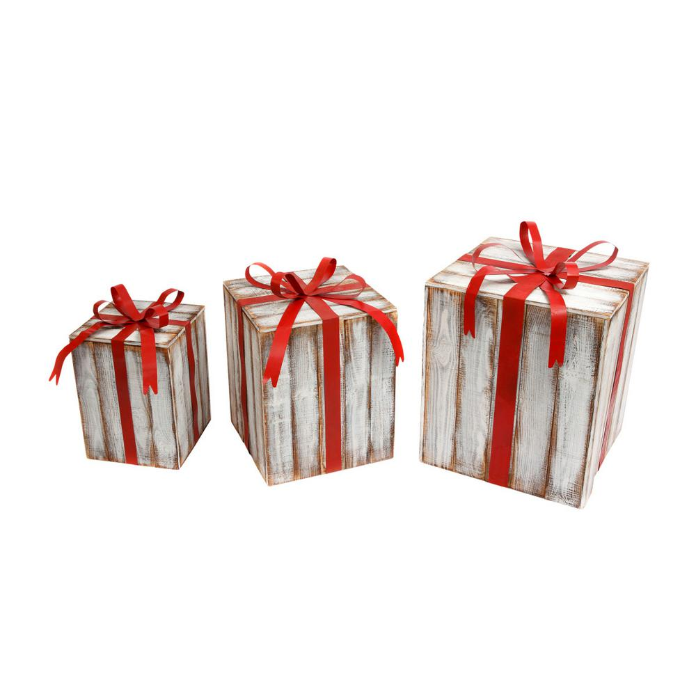 Gerson 24 in. H Extra-Large Nesting Holiday Gift Boxes with Bow ...