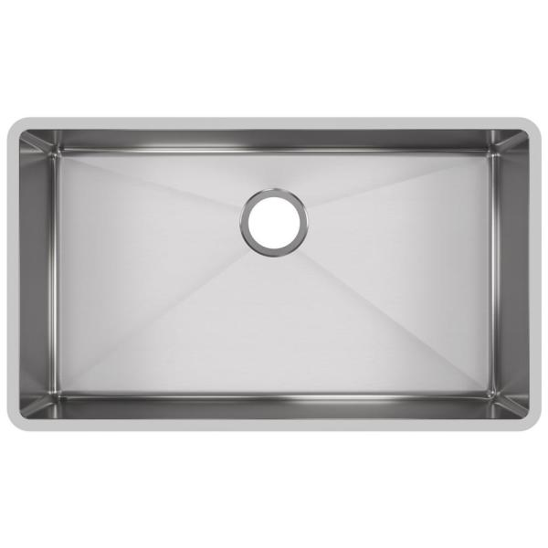 Crosstown Undermount Stainless Steel 32 in. Single Bowl Kitchen Sink with Center Drain