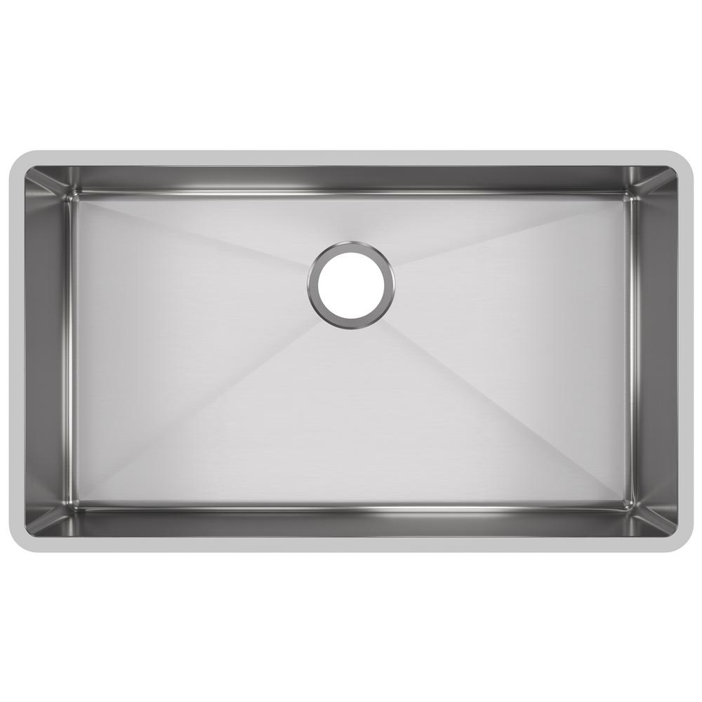 Crosstown Undermount Stainless Steel 32 in. Single Bowl Kitchen Sink with