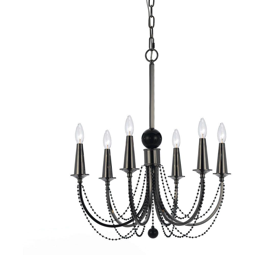 Af lighting shelby 6 light black nickel candle chandelier 8448 6h af lighting shelby 6 light black nickel candle chandelier arubaitofo Image collections