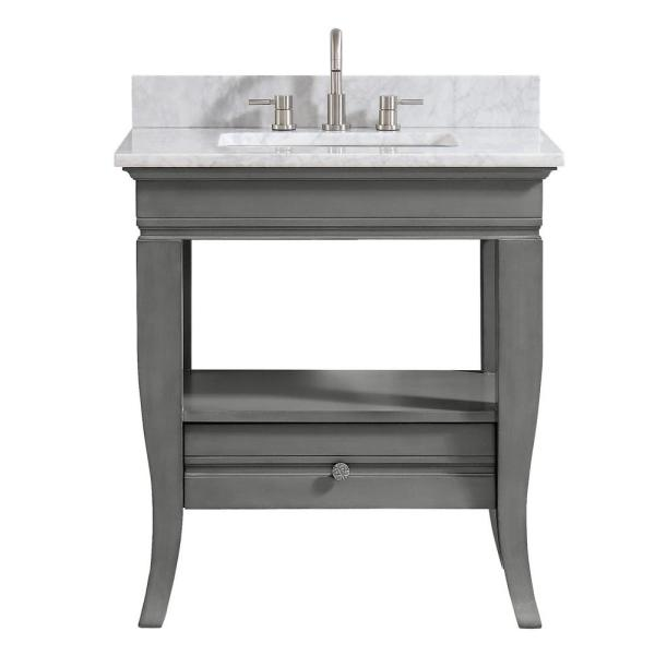 Milano 31 in. W x 22 in. D x 33 in. H Bath Vanity in Light Charcoal with Marble Vanity Top in Carrara White with Basin
