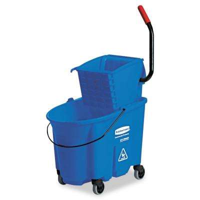 Wave Brake 35 Qt. Mop Bucket and Side-Press Blue Wringer Combo