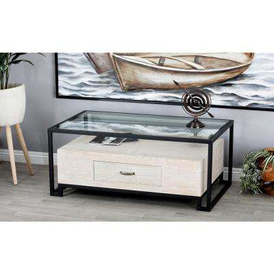 Brown and Gray Glass Coffee Table with Wooden Bottom Drawer
