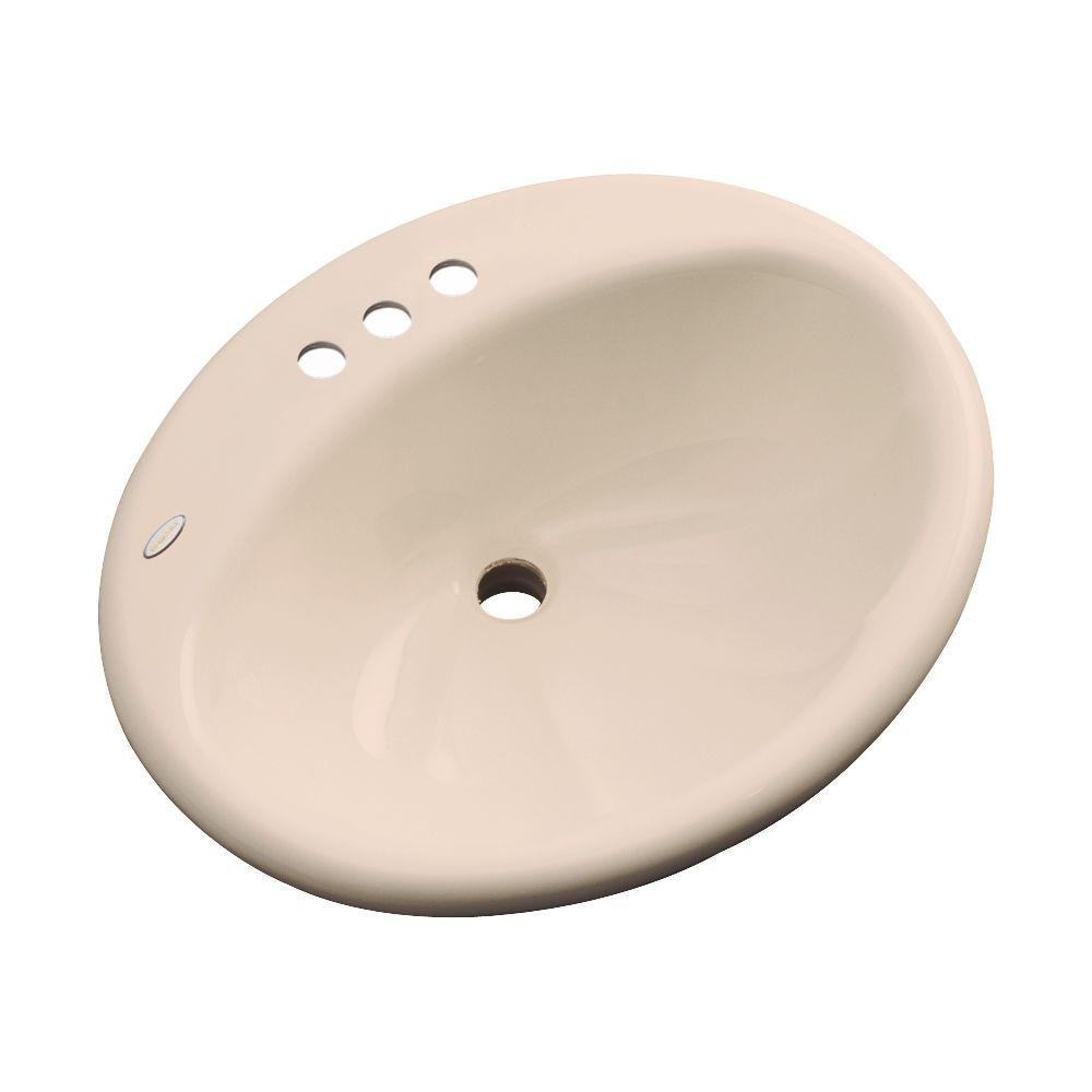 Oceana Designer Drop-In Bathroom Sink in Peach Bisque