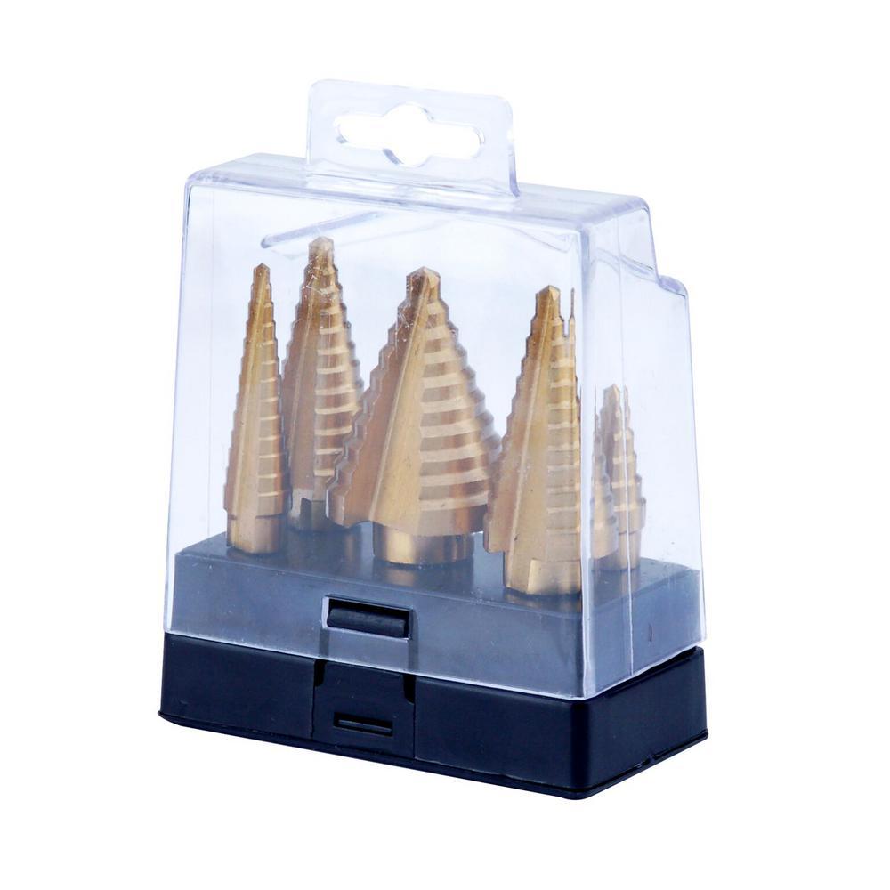 Titanium Step Drill Bit Set (5-Piece) with Storage Case