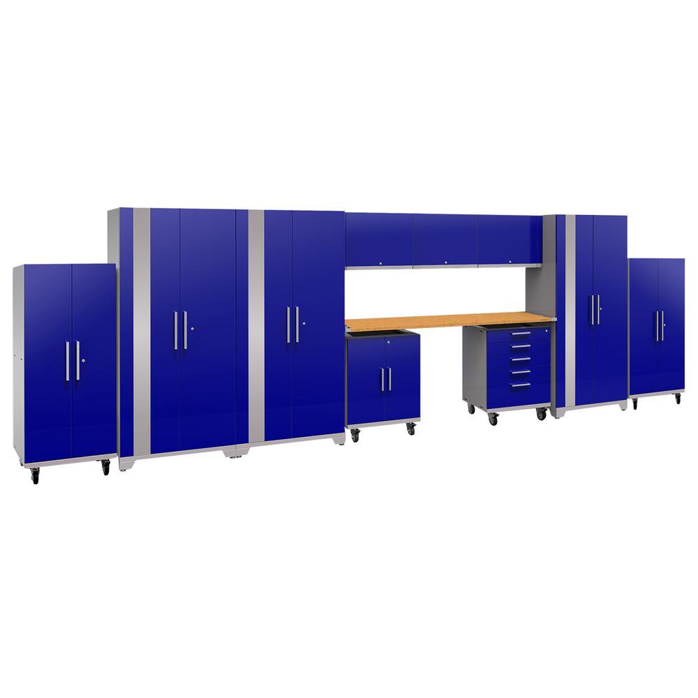 Performance Plus 2.0 80 in. H x 253 in. W x 24 in. D Steel Garage Cabinet Set in Blue (12-Piece)