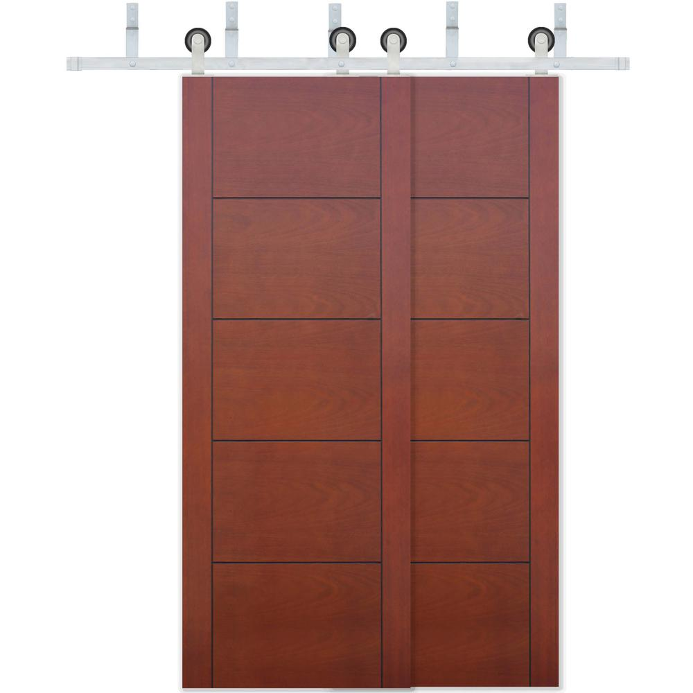 Pacific entries 60 in x 80 in bypass prefinished 5 panel - Prefinished mahogany interior doors ...