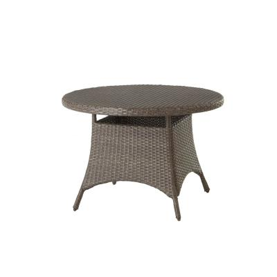 Torquay Brown Round Steel Outdoor Dining Table with Wicker Top