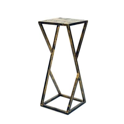 31.2 in. Grey Stone Slab Black/Gold Metal Plant Stand