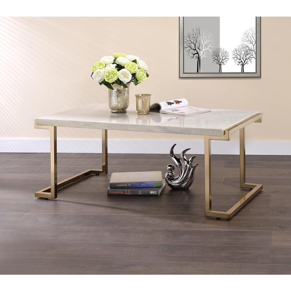 Novogratz Cecilia Soft Brass Coffee Table With Faux Marble