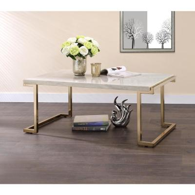 Boice II Faux Marble and Gold Coffee Table