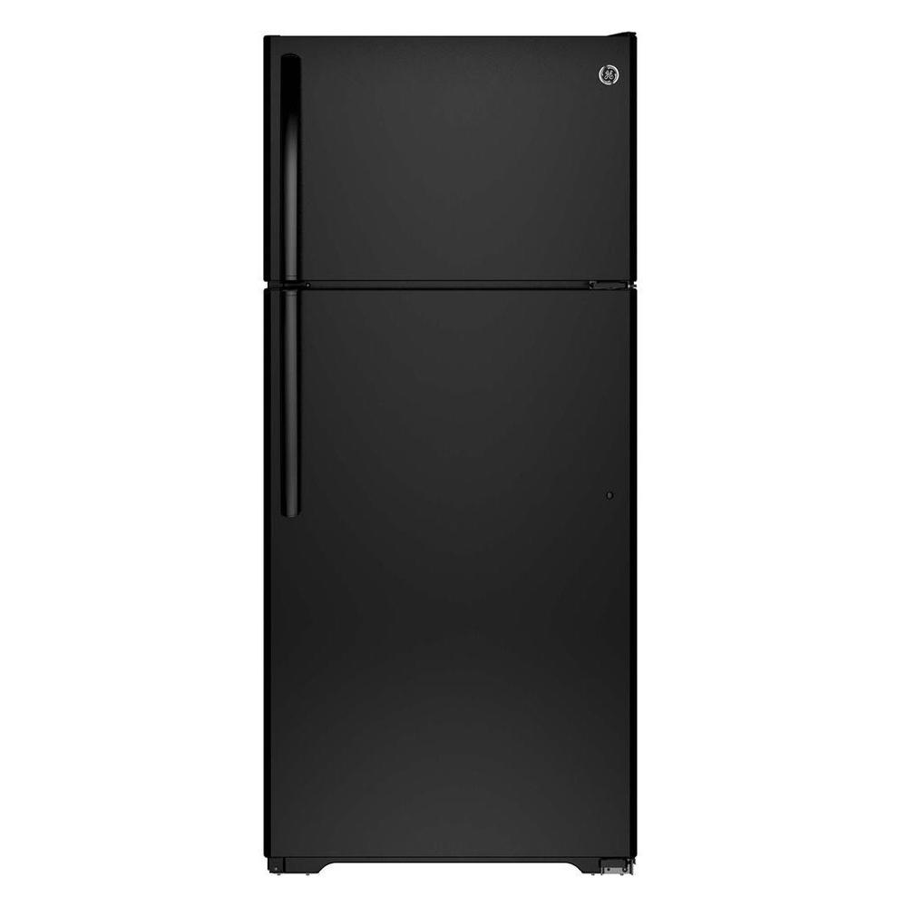 GE 15.5 cu. ft. Top Freezer Refrigerator in Black