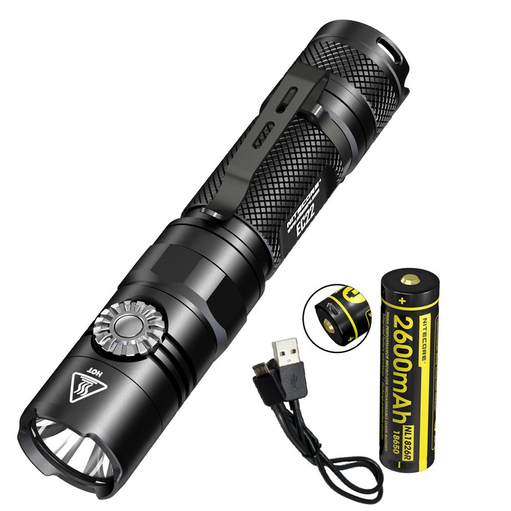 NITECORE Multitask Series EC22 1000 Lumens Infinite Variable Brightness LED Flashlight with USB Rechargeable Battery